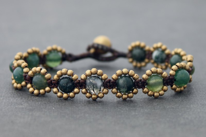 Brass Beaded Stone Bracelets Fancy Jasper Stone Cotton Woven Macrame Bracelets