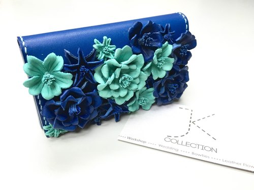 Version gorgeous color blue leather box cherry Card