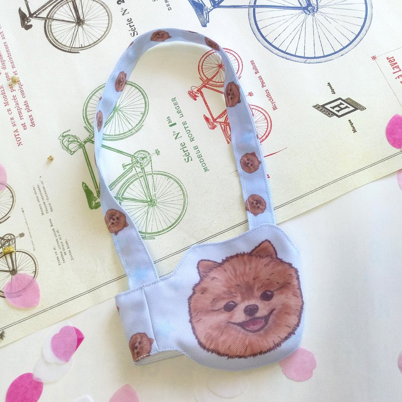NEW 博 美 -New style drink cup set-Dog sketch series ~ Dog head shape drink bag