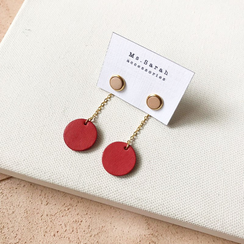 Leather earrings _ drape small round _ original leather with coral red