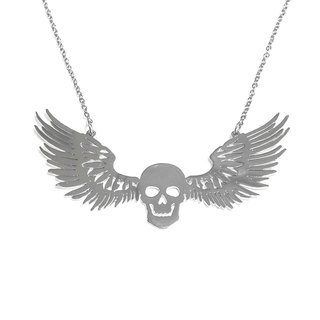 Skull with wing necklace