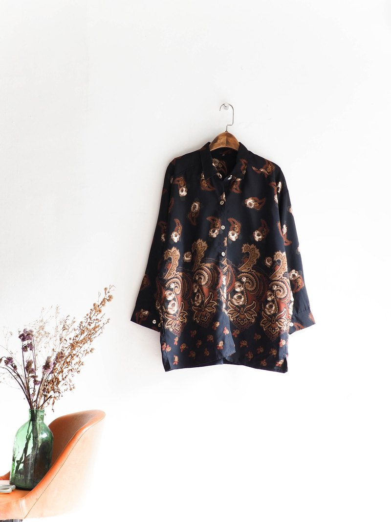 River Water Mountain - Shizuoka rock character girls antique silk shirt blouse shirt oversize vintage