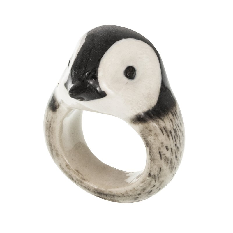 Little Penguin porcelain Ring (Size S) animal cute handmade Christmas gift France