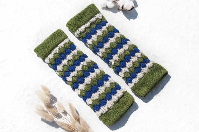 Hand-knitted pure wool knit socks/woven wool socks/inner brushed socks/warm socks-blue-green stripes
