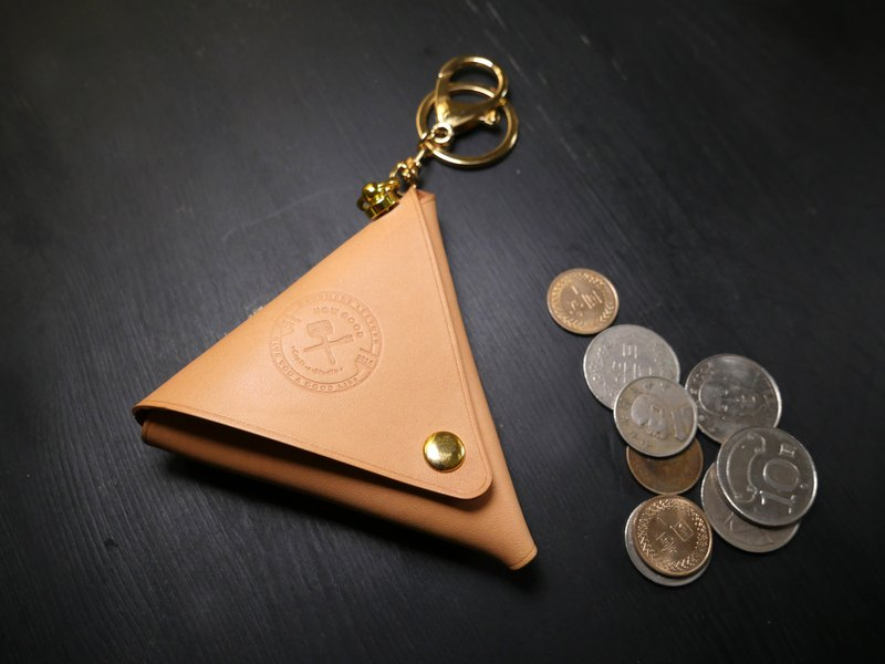 Vegetable tanned leather triangle coin purse - primary color