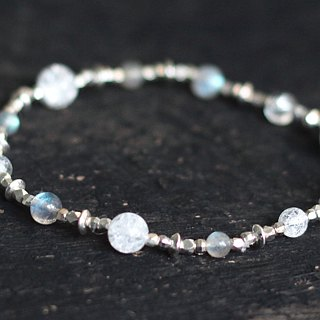 Silver. Natural ore bracelet gray moonstone white crystal labradorite elastic wire 925 silver bracelet