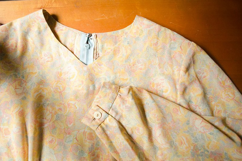 Xianhua Mist. Light Yellow Rose Early Chiffon Long Sleeve Dress #Vintage # Vintage # Guan Wan
