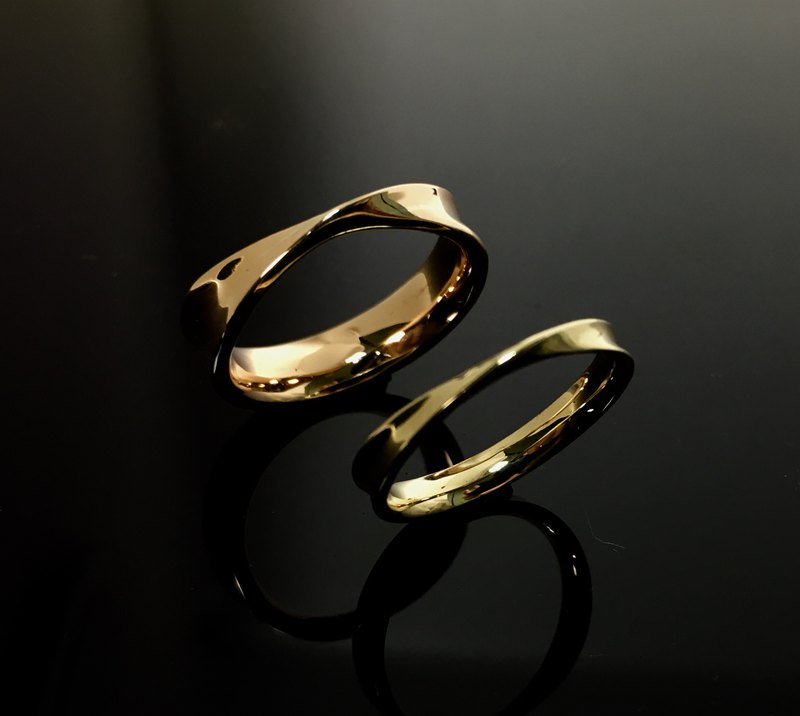 AJEOSSI 【Handmade × Customized × DIY】 Brass, Red Copper × Knocked Word × Couple Ring (Pair)