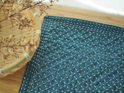 "Pure handmade embroidery cotton cloth table mat (large) rustic natural fabrics hand embroidery cloth ""blue"""