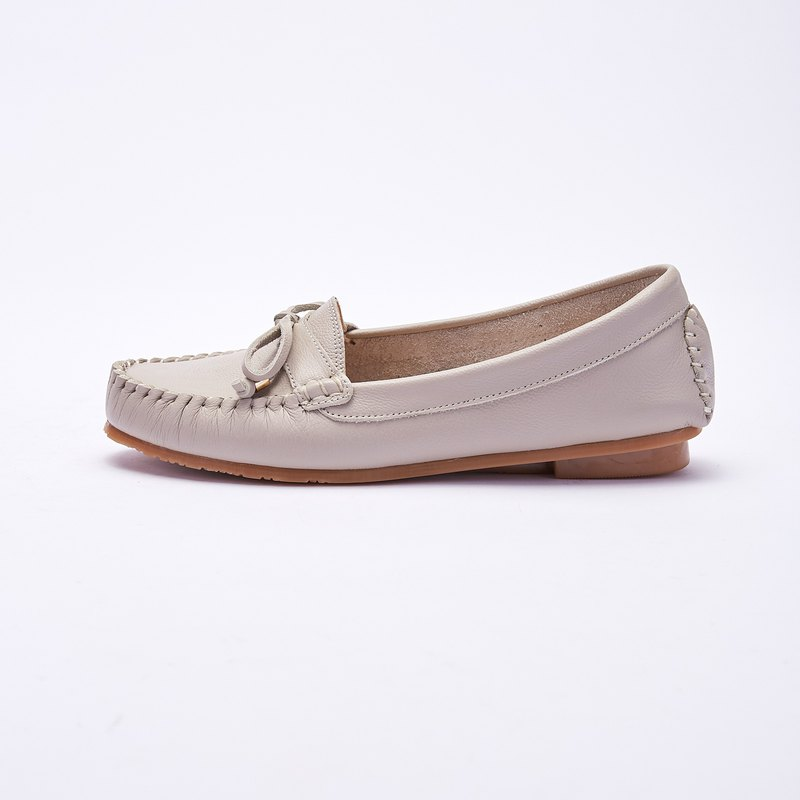 Plus size women's shoes 41-45 made in Taiwan bow leather hand stitched flat shoes 1.5cm gray