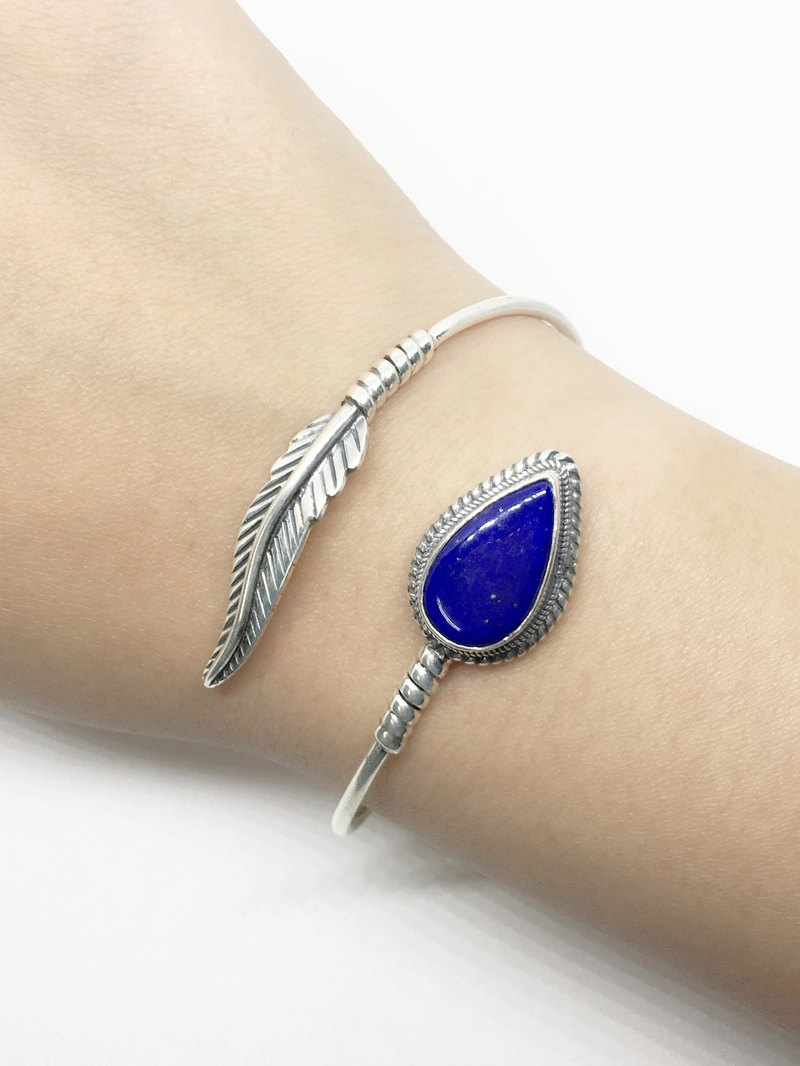 Lapis lazuli feather design 925 sterling silver bracelet inlaid hand-made bracelets Nepal
