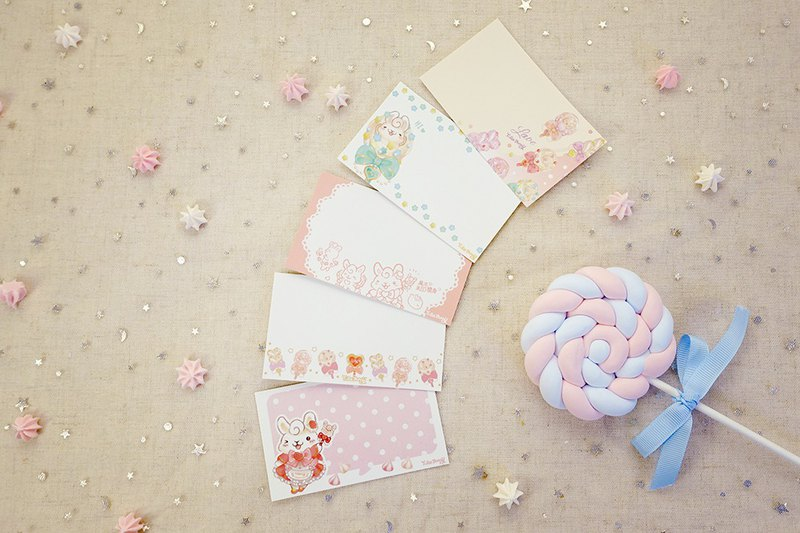 Message Card-Lollipop Bunny(5style 15 pics in pack)