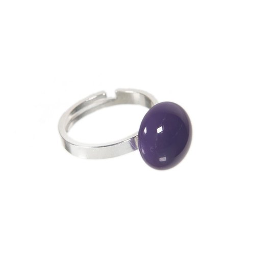 Handmade glass ring in purple colour