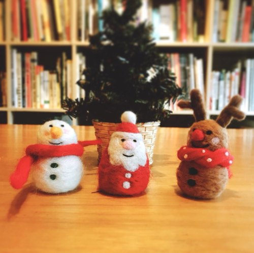 Handmade sheepskin felt - Christmas - Xmas - Snowman - Santa - Elk (three into groups)
