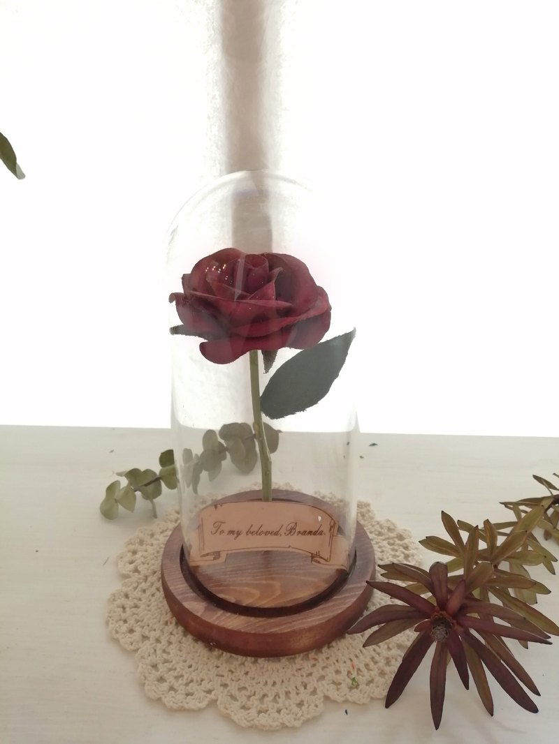 The only leather rose - vegetable tanned leather hand dyed leather flower leather hydrangea leather flower glass 盅