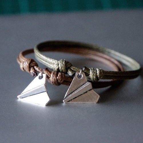 ITS-940 [minimalist series of childhood paper airplane paper wax rope bracelet 1. Brown / Army green.