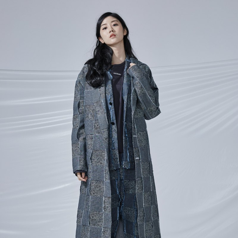 DYCTEAM - Plaid Jacquard Parka Tannins 3D Plaid Long Coat