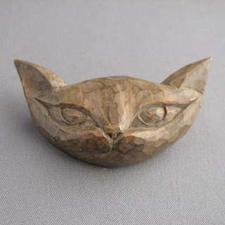 Cat brooch popping out of a wooden picture book Antique style brooch