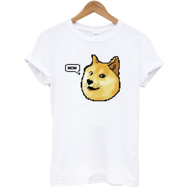 Shibe Doge WOW Short Sleeve T-Shirt White Chibai Japanese Animals Dog Cats Street Green