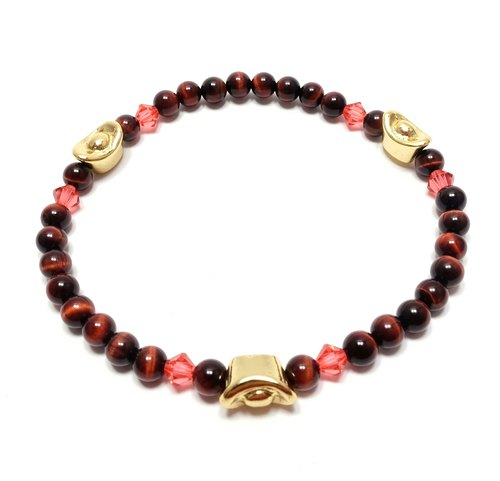 Red Tiger Eye SWAROVSKI lotus red crystal gold plated bracelet lucky stone