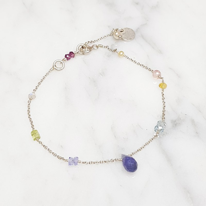 【ColorDay】 bright ~ drops of cordierite sterling silver bracelet <Lolite / コ ー デ イ エ リ イ イ ト>