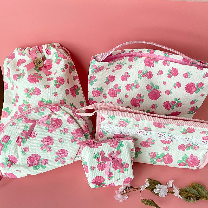 Classic printed rose canvas bag-home storage set