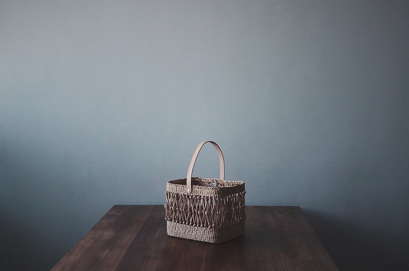 taiwanlin-square fishnet basket double-layer hand-woven