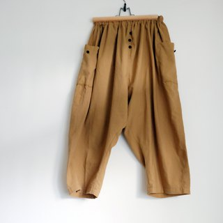 Khaki enamel elastic nine-point wide pants
