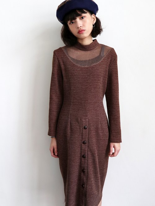 Pumpkin Vintage. Vintage high collar hollow thick material dress