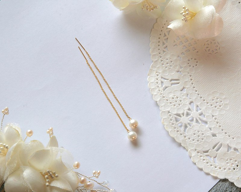 Simple pearl long earrings ear line can be changed to clip type light jewelry birthday wedding graduation gift ~ you are the only one