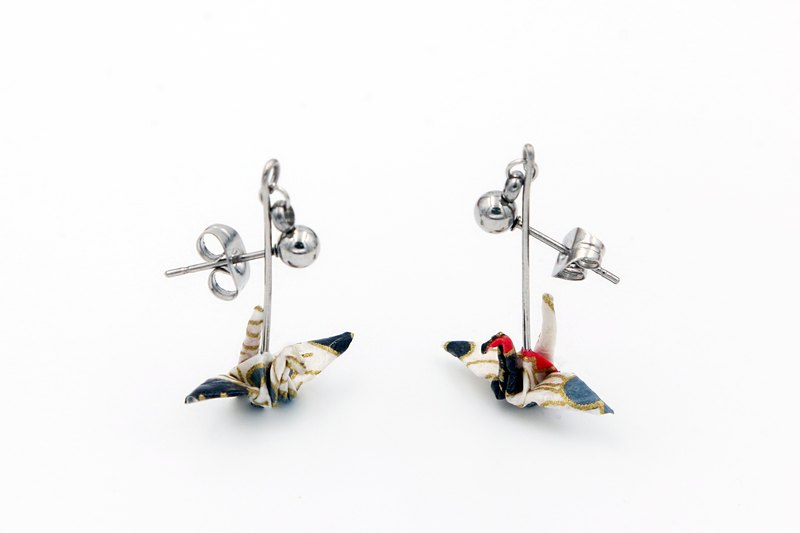 Mini cranes earrings (silver Galaxia & snow plum) - Valentine's Day gift