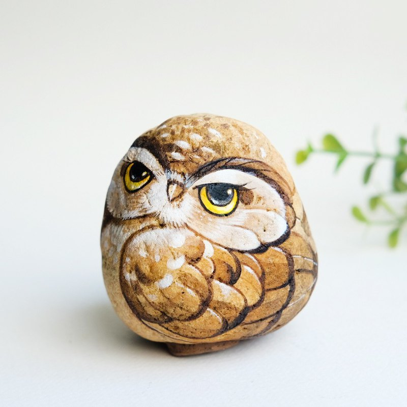 Owl doll stone painting,unique gift handmade.