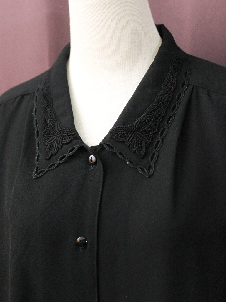 Vintage Japanese Elegant Plain Solid Color Embroidered Lapel Black Loose Long Sleeve Vintage Shirt