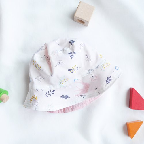 Lightweight cotton-hemp child double-faced fisherman hat | Powder gray elk