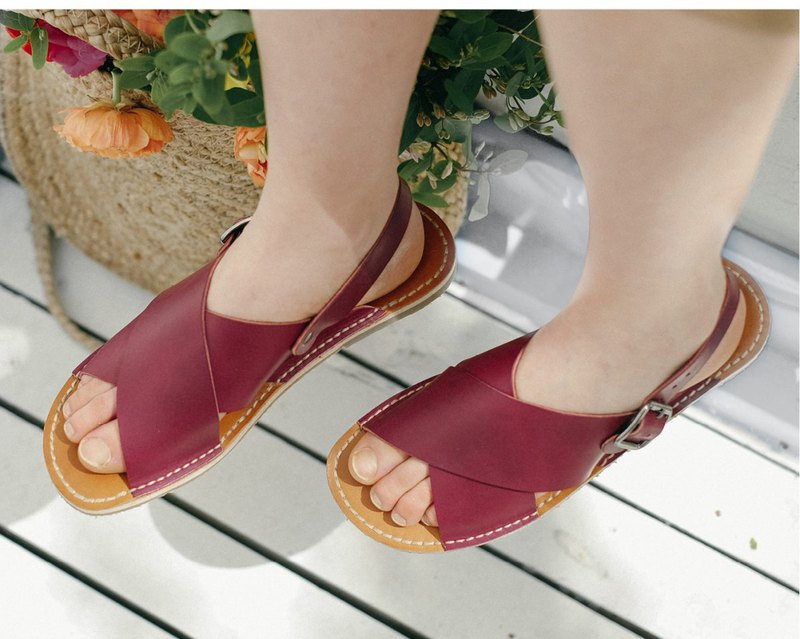 Leather Flip-Flops, Dark Red Flip-Flops, Women Sandals, Wine Women Sandals
