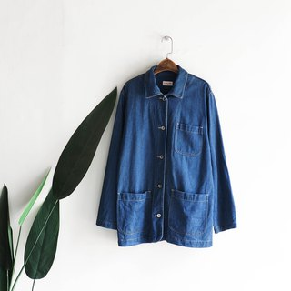 徳岛天蓝工作版 Youth log antique cotton denim shirt jacket coat vintage