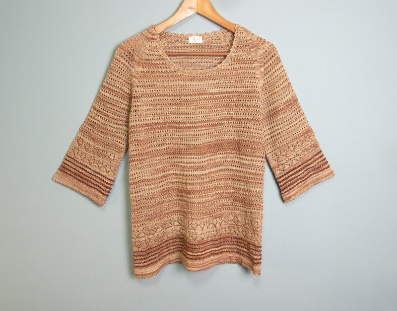 FOAK Vintage Saturn Ring Gradient Ethnic Hollow Top