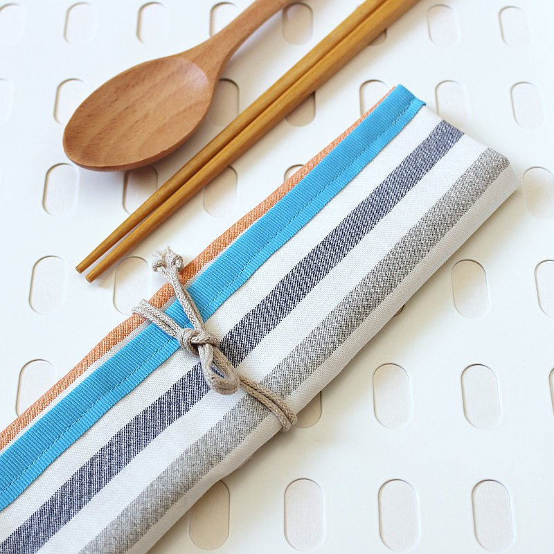 All-in-one POUCH rainbow stripe cotton & water proof lining