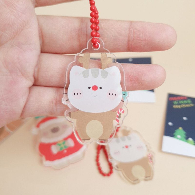 Mr. Bear and his cutie cat: Acrylic Key Chain (Cutie Cat Reindeer)