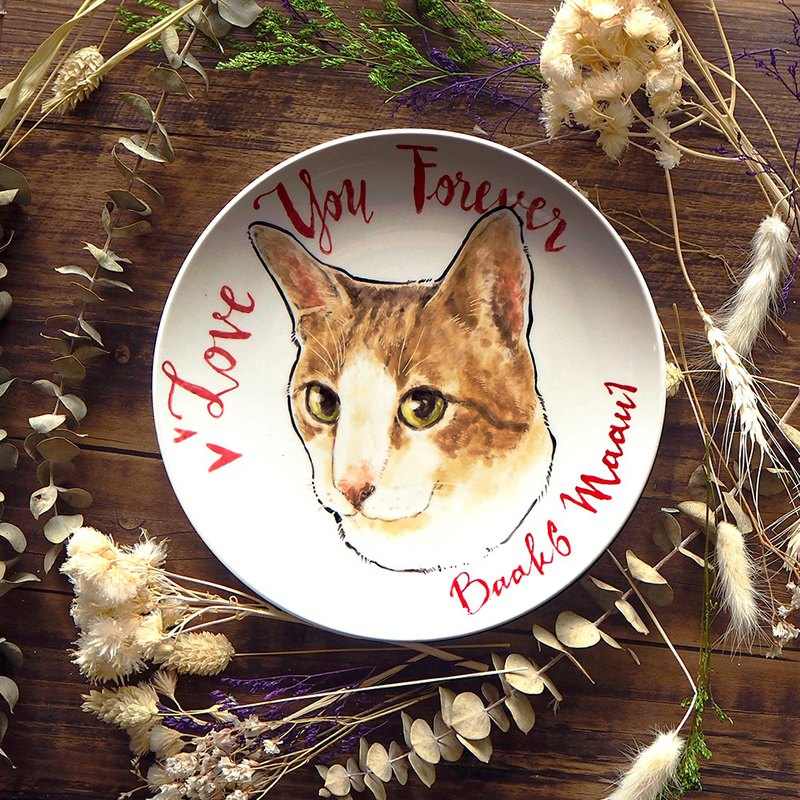 Custom pet portrait- your pet on porcelain plate , bunny rabbit, dog, cat