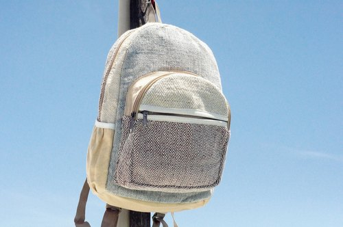 Valentine's Day limited a piece of cotton stitching design backpack / shoulder bag / national mountaineering bag / patchwork bag / cotton / linen backpack / travel bag-blue sky original tone (small)