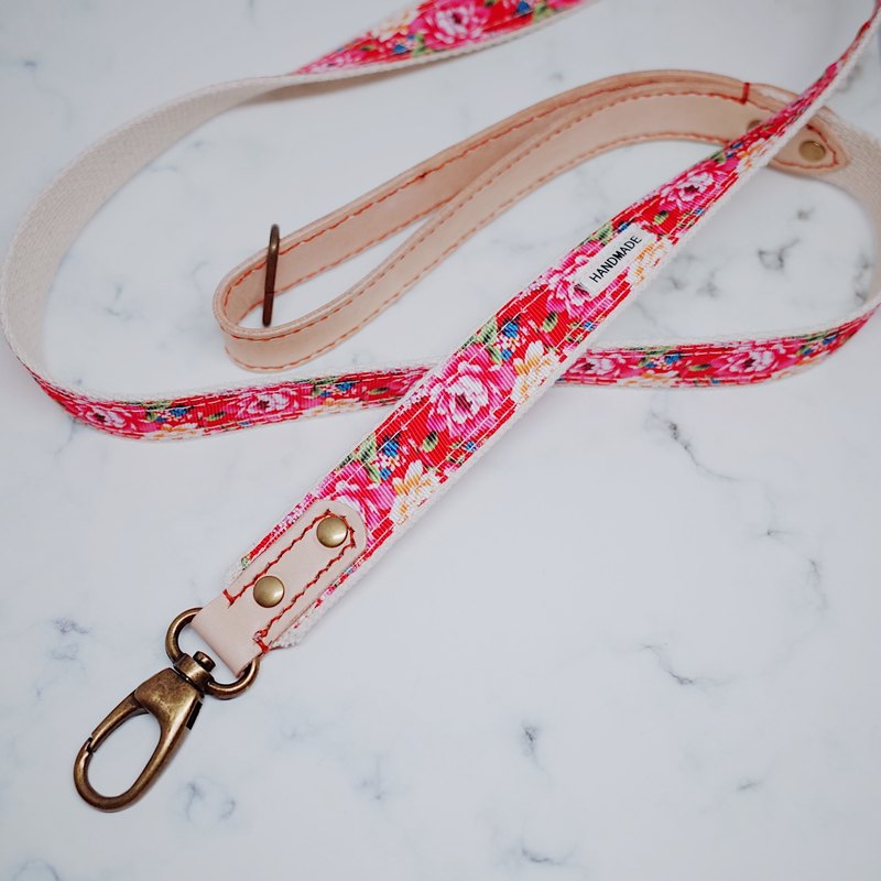 Dog leash vintage Chinese style red peony flower tanned leather length can be customized walking leash