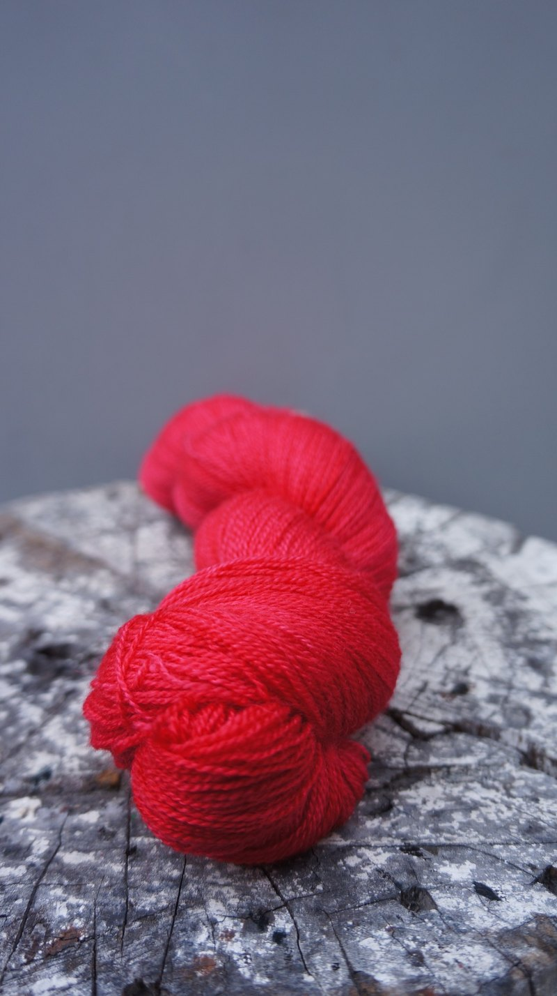 Hand-dyed lace line. Fire Red (BFL / Silk)