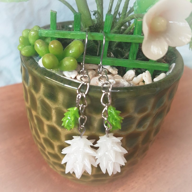 Exclusive order - white chopped green onion earrings earrings