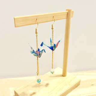 [Origami Earrings Series] Blue Feather and Paper Crane (Change Ear Clip)