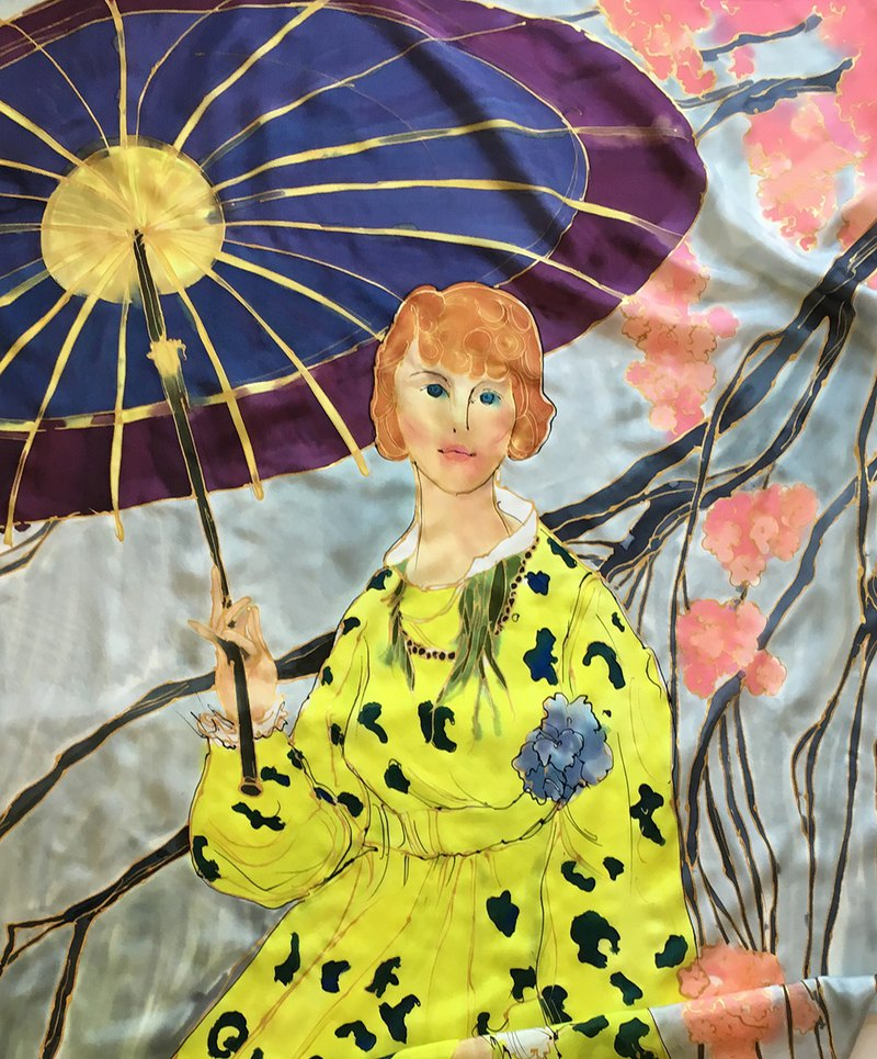 Hand painted silk scarf- The Lady in Lime Dress Luxury shawl