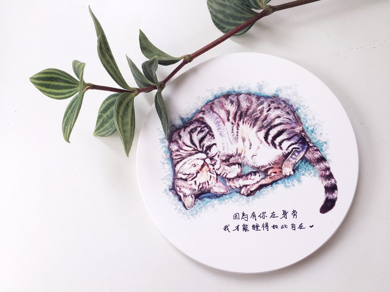 Animal illustration ceramic absorbent coaster [Sleeping tabby]