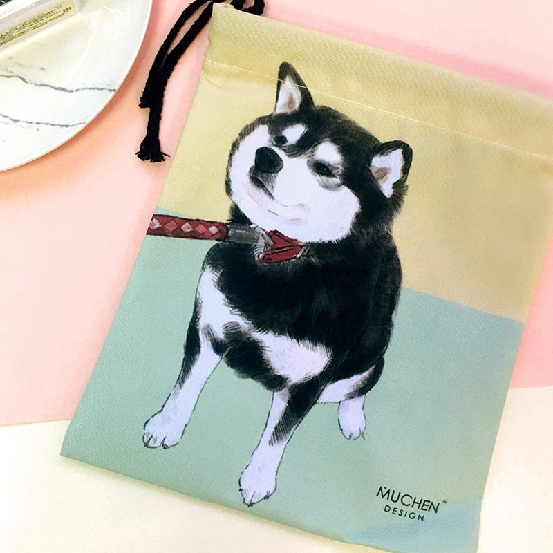 Want to go home! Thick black wood beam port package (hand-painted dog cell phone pocket. Cosmetic. Packet) / Christmas gift
