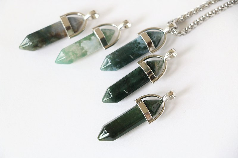 Green moss agate necklace - men crystal necklace - men cord necklace