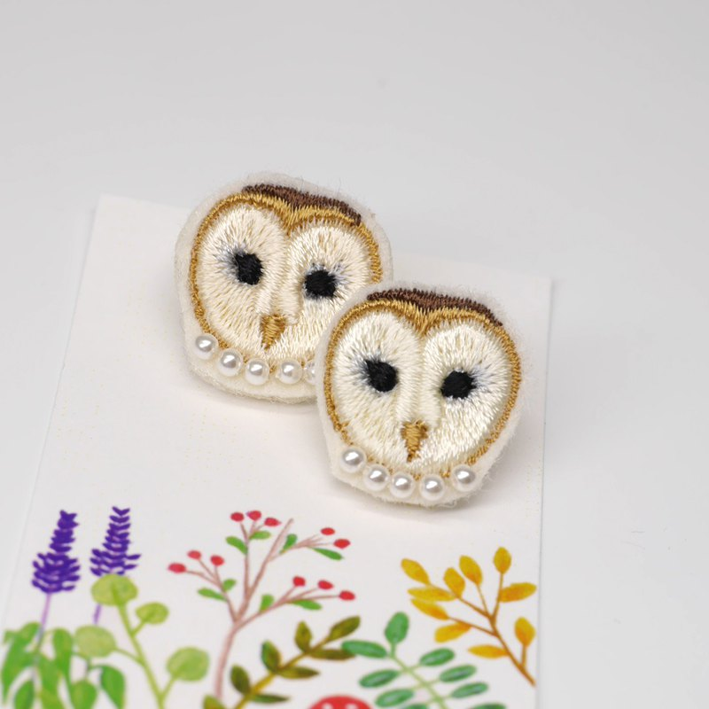 Mrs. Grasshopper-Owl handmade embroidered earrings with optional painless ear clips or sterling silver ear pins